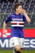 Garcia Renan of UC Sampdoria celebrates after scoring a goal during the Tim Cup match between UC Sampdoria and Hellas Verona FC at Stadio Luigi...
