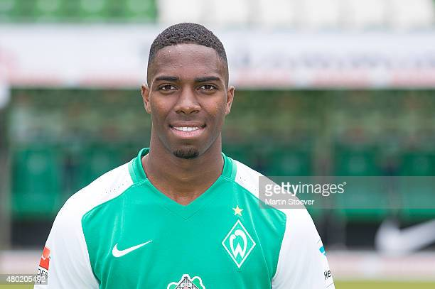 Garcia Ulisses poses during the official team presentation of Werder Bremen at Weserstadion on July 10 2015 in Bremen Germany