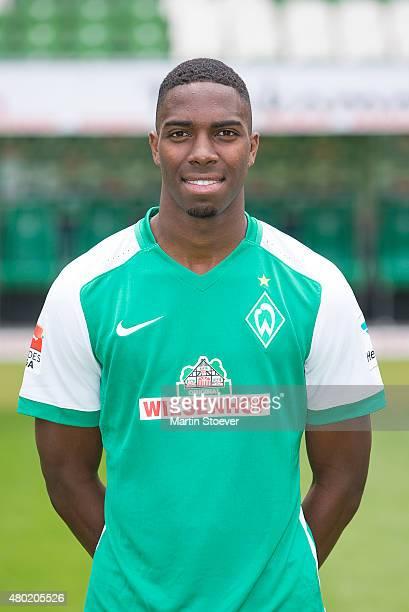 Garcia Ulisses poses during the official team presentation of Werder Bremen at Weserstadion on July 10 2015 in Bremen Germany