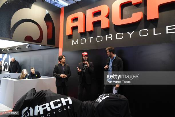 Gard Hollinger and Keanu Reeves cofounders of Arch motorcycle speak during Arch press conference at EICMA 2017 the International Motorcycle Fair on...