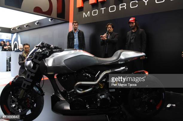 Gard Hollinger and Keanu Reeves speak during Arch press conference at EICMA 2017 the International Motorcycle Fair on November 8 2017 in Milan Italy