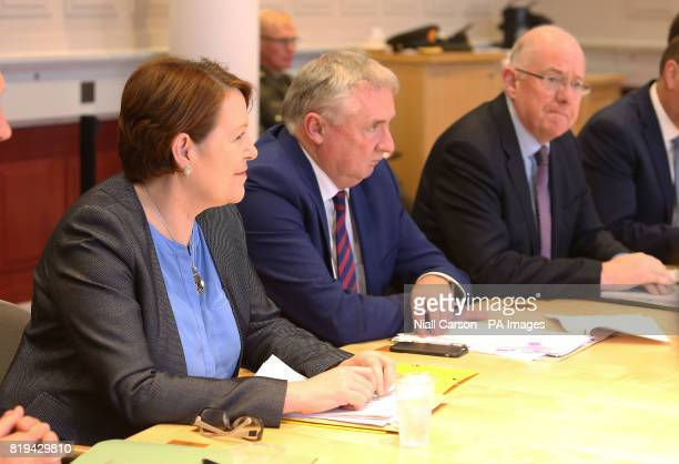 Garda Commissioner Noirin O'Sullivan and Justice Minister Charlie Flanagan attends the first meeting of the Government Security Committee at...