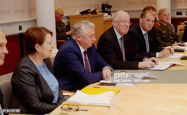 Garda Commissioner Noirin O'Sullivan Justice Minister Charlie Flanagan and Defence Minister Paul Kehoe attend the first meeting of the Government...