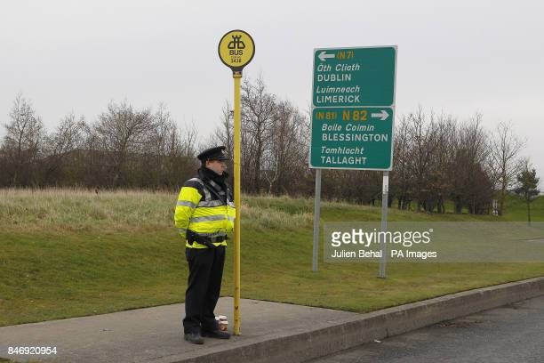 A garda in City West Dublin where it is believed the black Hyundai SUV used in the shooting of 16 yearr old Melanie McCarthy in Tallaght last night...