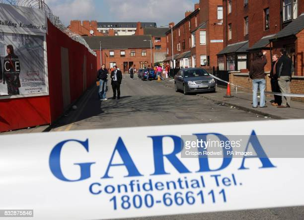 Garda seal off the scene of a shooting on Sean MacDermott Street in Dublin city centre in which a man was injured at 130am this morning