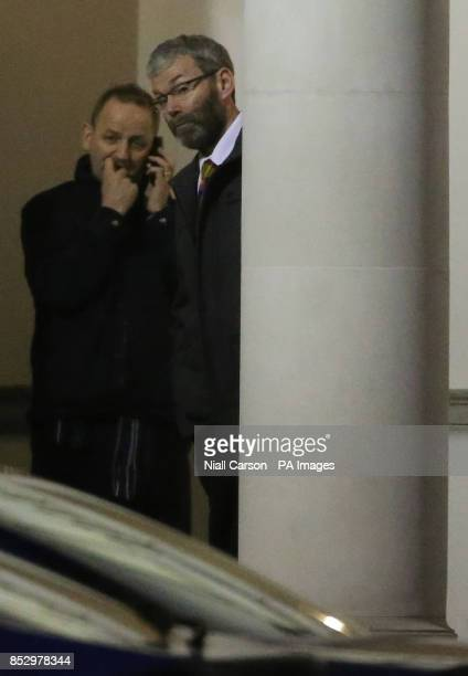 Garda Whistleblowers Maurice McCabe and John Wilson leaving the public accounts committee hearing in Leinster House in Dublin