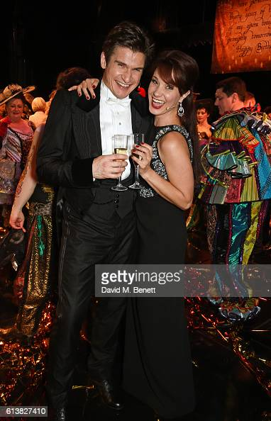 Gardar Thor Cortes and Sierra Boggess pose onstage at 'The Phantom Of The Opera' 30th anniversary charity gala performance in aid of The Music in...