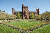 Garden and grounds in front of Smithsonian Institute Castle, Washington DC, USA