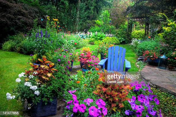 Garden and path, blue chair, colors of summer