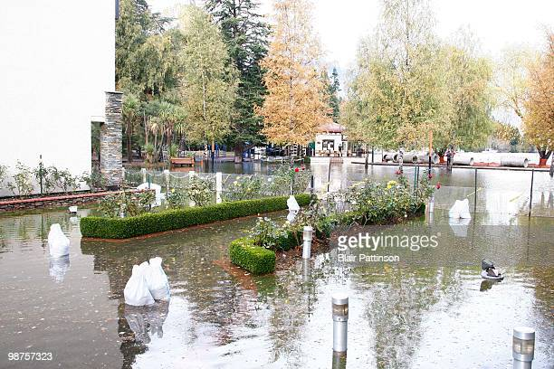 A garden at the Novotel Hotel Queenstown is effected by the torrential rain which caused the flood waters to rise in Queenstown central business...