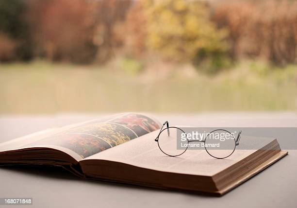 Garden book with glasses