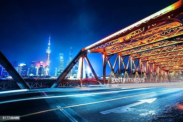 Jardin Pont de Shanghai de nuit