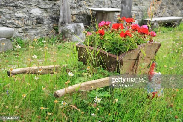 Garden decoration of a house, Bosco/Gurin, Ticino, Switzerland