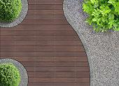 aesthetic garden design detail seen from above