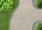 aesthetic garden design detail in aerial view