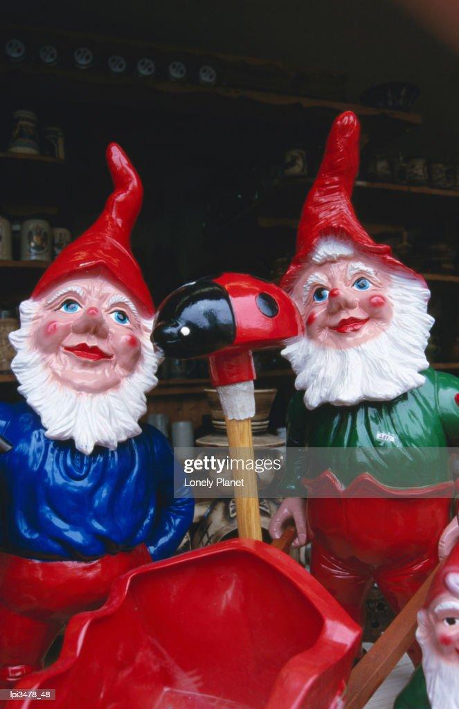 Garden gnomes at Frankfurt Dippenmarkt : Stock Photo