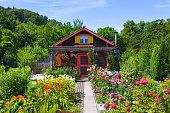 Beautiful garden house. Summer garden.