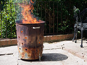 Destruction of garbage by means of burning in a Garden incinerator bin. Cause smoke, which air pollution. Not helping the environment.