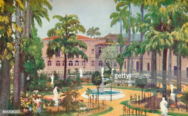 Garden of the Itamaraty Palace Foreign Office 1914 From The Beautiful Rio De Janeiro by Alured Gray Bell [William Heinemann London 1914] Artist Edgar...