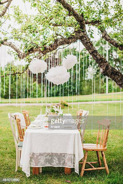 Garden party arrangement with decorations hanging from tree.