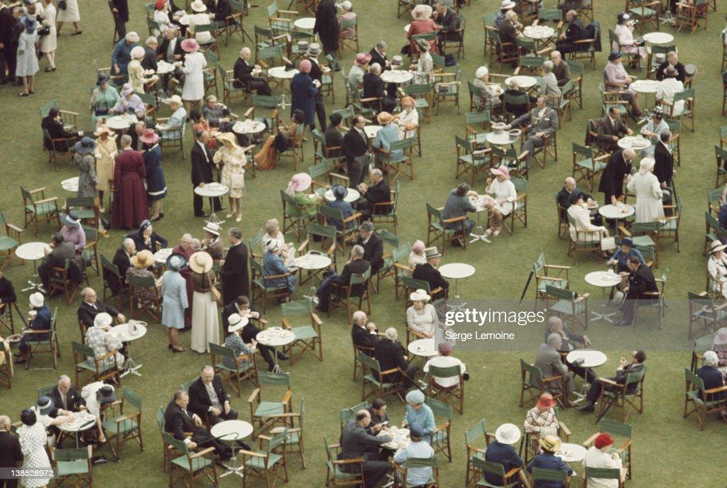 A garden party at Buckingham Palace, London, circa 1980.