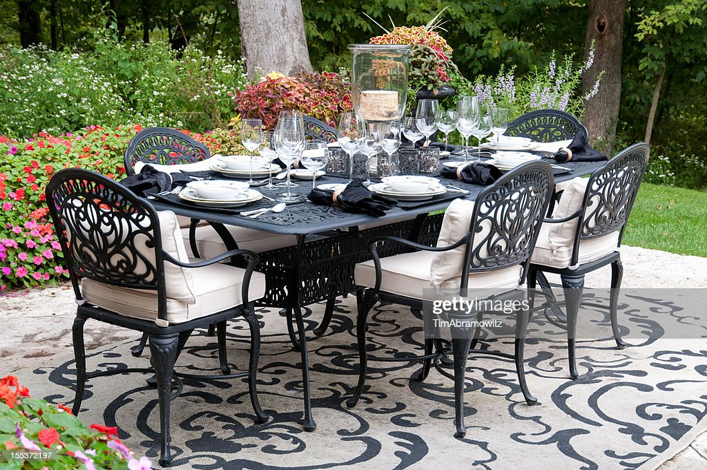 Garden Patio Dinner Party Setting : Stock Photo