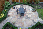 Circular Garden patio with table and chairs