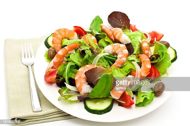 garden salad with shrimps