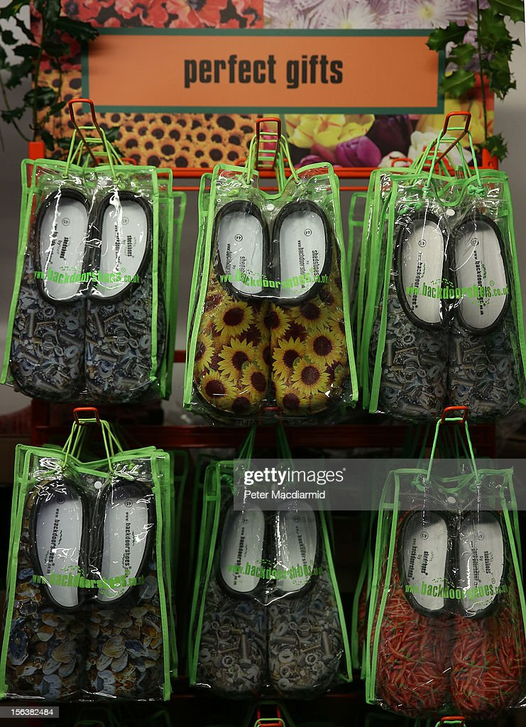 Garden shoes are displayed for sale at The Ideal Home Christmas Show on November 14, 2012 in London, England. Over 400 exhibitors are showcasing a range of gift ideas for Christmas at the Earls Court exhibition centre.
