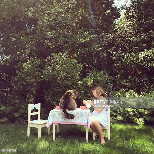 Garden Tea Party with a Cat