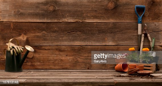Garden theme panorama w/planting tools and flowers-barwood background,copy space