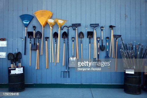 Garden tools on display
