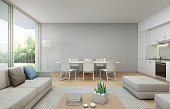 3d rendering of interior with table, sofa and cabinet