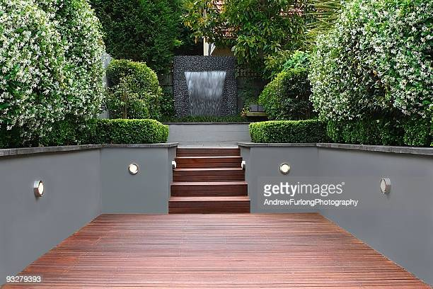 Garden with lights and wooden stairs in Sydney