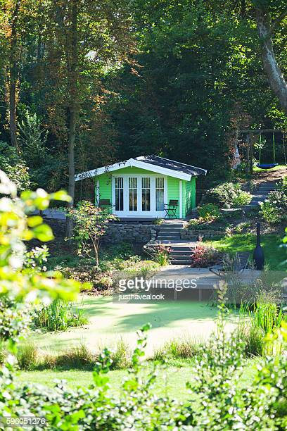 Garden with summer house and mere