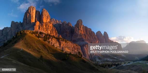 Gardena pass sunset time , european alps , dolomites Italy