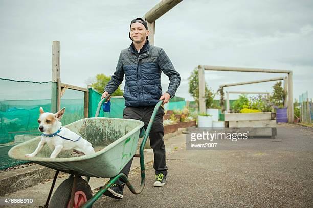 Gardener at his allotment.