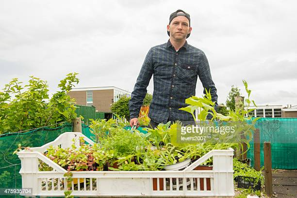 Gardener with a load of plants at his allotment.