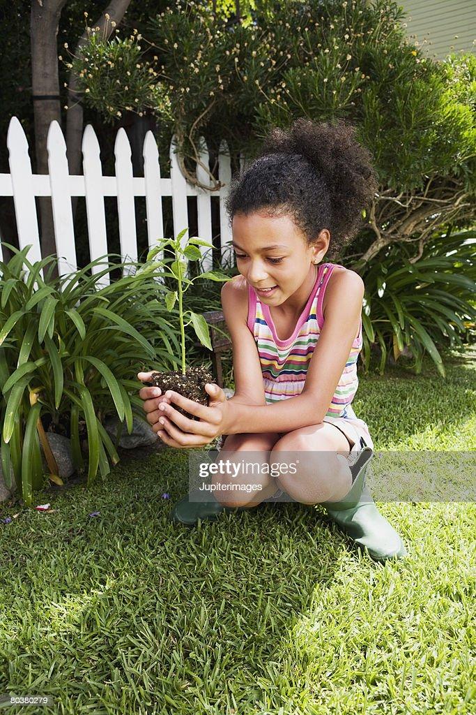 Gardening girl holding plant : Stock Photo