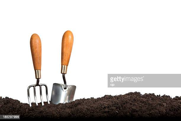 Gardening Hand Tools on White Background