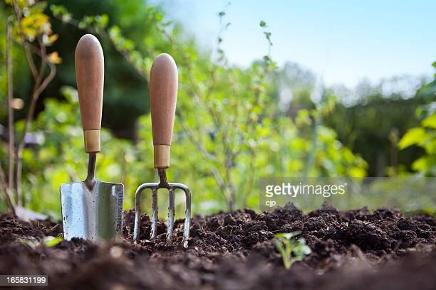 Jardinage main Truelle et fourchette se tenir dans le jardin d'acidité du sol