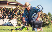 Gardening. Senior man mowing the grass with a lawn mower. Hobbies and leisure