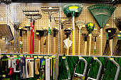 Gardening tools on display in store