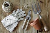 Gardening tools, still life