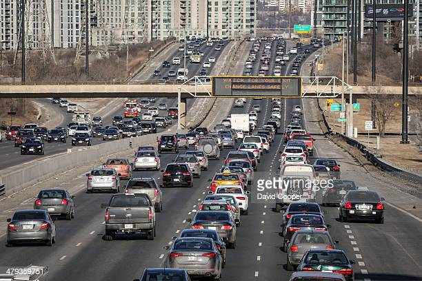 TORONTO ON MARCH 17 Gardiner Expressway look east from the Royal York Rd overpass towards the downtown during the evening rush hour Story about the...