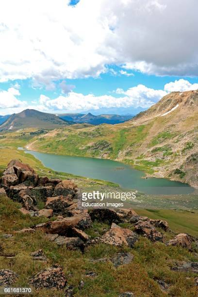 Gardner Lake in the alpine area above timberline in the Bear tooth Mountains of northern Wyoming in the Shoshone National Forest The Bear tooth...