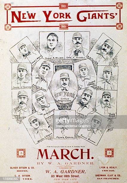 WA Gardner Music company uses a collage of the National League champion New York Giants to sell the sheet music entitled The New York Giants March...