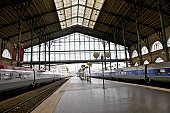 Gare du Nord landmark train station, interior, looking toward the historic shed, Paris, France