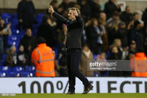 Gareth Ainsworth Manager of Wycombe Wanderers applauds supporters after the full time whistle during the Emirates FA Cup Fourth Round match between...