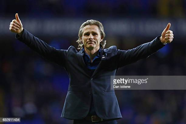 Gareth Ainsworth Manager of Wycombe Wanderers applauds supporters following defeat during the Emirates FA Cup Fourth Round match between Tottenham...